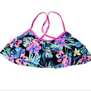 4/$20 SO Pink Tropical Flounce Cross Back Bikini
